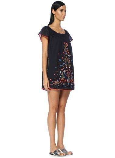 Tory Burch Desenli Mini Elbise Lacivert